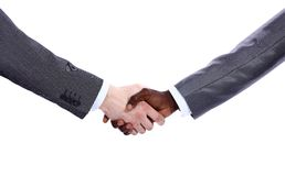De hand die van de zakenman witte zakenman schudt han royalty-vrije stock foto's