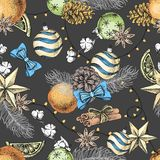 De hand die van de Kerstmisvakantie naadloos patroon trekken Kerstmisattributen stock illustratie