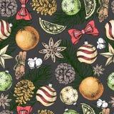 De hand die van de Kerstmisvakantie naadloos patroon trekken Kerstmisattributen royalty-vrije illustratie