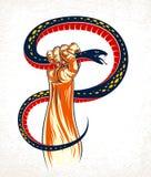 De hand drukt een slang, bestrijding van kwaad, controleert uw donkere kant, dilemma, archetypeschaduw, is het leven een strijdco vector illustratie