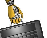 De hand en de aktentas van de robot Royalty-vrije Stock Afbeeldingen