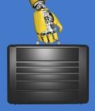 De hand en de aktentas van de robot Stock Afbeelding
