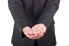 De hand en de holding van de mensenaanbieding niets Stock Afbeeldingen