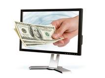 De hand geeft dollars Stock Afbeeldingen
