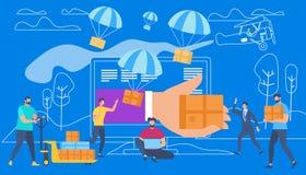 De hand geeft Doos door Monitor Mensen het winkelen royalty-vrije illustratie
