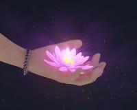 De hand geeft lotusbloemgloed in dark Stock Foto