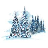 De hand geschilderde boom van waterverfkerstmis stock illustratie