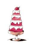 De hand geschilderde cake van de waterverfaardbei Stock Afbeeldingen