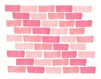 De hand getrokken achtergrond van de de bakstenen muurtextuur van het tellers roze koraal vector illustratie