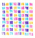 De hand getrokken achtergrond van het het neon purpere blauwe roze oranje mozaïek van de tellers abstracte afdruk vector illustratie