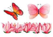 De hand getrokken bloemen en de vlinders van de Waterverfmagnolia voor kaart het maken, document, textiel en druk stock illustratie