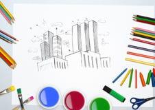 De hand getrokken bouw met van de waterkleuren en kleuring potlood op witte achtergrond Stock Afbeeldingen