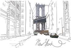 De hand getrokken brug van Manhattan met straat vectorillustratie Stock Afbeeldingen