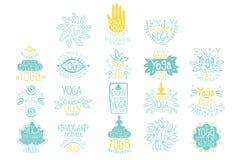 De hand getrokken creatieve reeks van het de clubembleem van de ontwerpyoga ayurvedic Meditatiestudio Het van letters voorzien me Royalty-vrije Stock Afbeelding