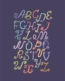 De hand getrokken die funky brieven van ABC, op lichte achtergrond worden geïsoleerd Hand getrokken kleurrijk alfabet, illustrati Stock Foto