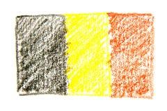 De hand getrokken die illustratie van het waterverfpotlood van vlag van België op witte achtergrond wordt geïsoleerd Royalty-vrije Stock Afbeelding