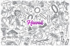 De hand getrokken die krabbel van Hawaï met het van letters voorzien wordt geplaatst royalty-vrije illustratie