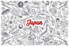 De hand getrokken die krabbel van Japan met het van letters voorzien wordt geplaatst stock illustratie