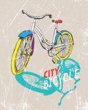 De hand getrokken fiets van de kleurenstad Vector illustratie Vector Illustratie