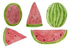De hand getrokken geplaatste plakken van de waterverfwatermeloen De illustratie van de zomer Mengeling van het ontwerpelement van royalty-vrije illustratie