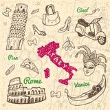 De hand getrokken geplaatste symbolen en de oriëntatiepunten van Italië Royalty-vrije Illustratie