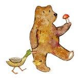 De hand getrokken illustratie van de beeldverhaalwaterverf van beer en eend die paddestoelen gaan plukken royalty-vrije illustratie