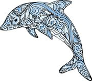 De hand getrokken illustratie van de krabbel zentangle dolfijn Royalty-vrije Stock Afbeelding