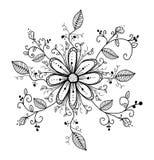De hand getrokken illustratie van de krabbelbloem Stock Afbeelding