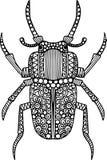 De hand getrokken illustratie van de krabbelkever Vector Illustratie