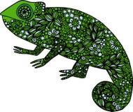 De hand getrokken illustratie van het krabbel kleurrijke die kameleon met ornamenten wordt verfraaid Royalty-vrije Stock Foto