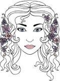 De hand getrokken illustratie van het vrouwengezicht Stock Afbeeldingen