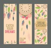 De hand getrokken inheemse Amerikaanse reeks van de dreamcatcherbanner Eps 10 Royalty-vrije Stock Afbeeldingen