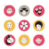 De hand getrokken inzameling van het ontwerppictogrammen van Japan en van Azië royalty-vrije illustratie