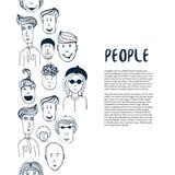 De hand getrokken inzameling van schetsmensen Vectorontwerp bedrijfsmalplaatje Grens met mensen voor vlieger, banner, affiche, br Stock Foto's