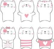 De hand getrokken inzameling van stijl leuke katten stock afbeeldingen