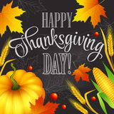 De hand getrokken kaart van de dankzeggingsgroet met bladeren vector illustratie