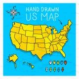De hand getrokken kaart van de V.S. met spelden Royalty-vrije Stock Afbeeldingen