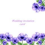 De hand getrokken kaart van de het huwelijksuitnodiging van waterverf violette anemonen royalty-vrije illustratie