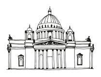 De hand getrokken Kathedraal van Heilige Isaac in Heilige Petersburg, Rusland stock illustratie