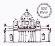 De hand getrokken Kathedraal van Heilige Isaac in Heilige Petersburg, Rusland vector illustratie