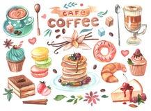 De hand getrokken koffie en de snoepjes van de waterverfillustratie royalty-vrije illustratie