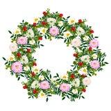 De hand getrokken kroon van de de zomer elegante en romantische bloem met roze dahlia, witte kamille Stock Foto