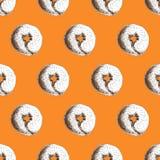 De hand getrokken ongezuurde broodjes met sesam naadloos patroon, Verpakkende druk voor bakkerijen en markten vector illustratie