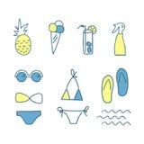 De hand getrokken pictogrammen van de krabbelzomer De reeks van de lijnkleur elementen Vector illustratie , op witte achtergrond Stock Afbeelding