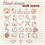 De hand getrokken pictogrammen van het computerWeb Royalty-vrije Stock Afbeeldingen