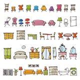 De hand getrokken pictogrammen van de meubilairschets royalty-vrije illustratie