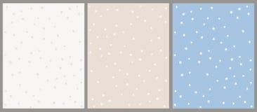 De hand Getrokken Reeks van het Ster Vectorpatroon Beige en Blauwe Achtergronden met Witte Sterren stock illustratie