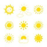 De hand getrokken reeks van het zonpictogram Vector illustratie Royalty-vrije Stock Foto's