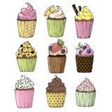 De hand getrokken reeks van waterverf kleurrijke cupcake vector illustratie