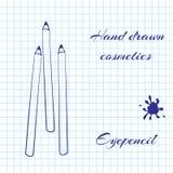 De hand getrokken schoonheidsmiddelen van de lijnkunst op notitieboekjedocument achtergrond Eyepencil met een pen wordt getrokken Stock Foto's